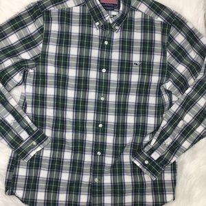 Vineyard Vines collegiate shirt plaid green sz M